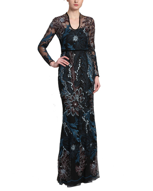 fa15974b1e65 Black Multi Colored Blue, Burgundy, and Silver Floral and Botanical  Embroidered Sheer Overlay Long