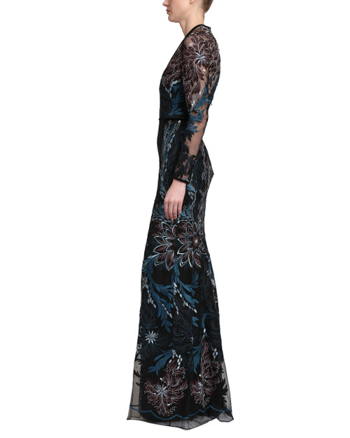 4930d581118a Black Multi Colored Blue, Burgundy, and Silver Floral and Botanical  Embroidered Sheer Overlay Long