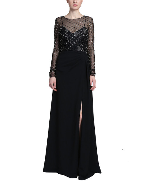 d07b4868797 Black Long Sleeve Draped Skirt Dress with lace tank top and a sheer  embellished long sleeve