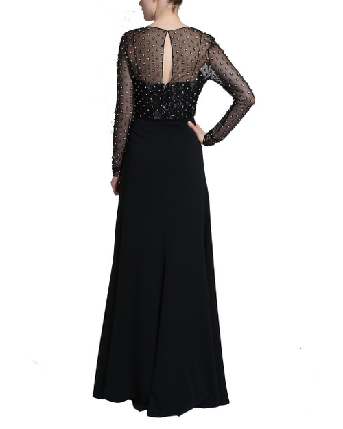 1c4381c17c9ac Black Long Sleeve Draped Skirt Dress with lace tank top and a sheer  embellished long sleeve