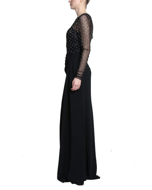 4f316921df61 Black Long Sleeve Draped Skirt Dress with lace tank top and a sheer  embellished long sleeve