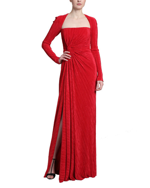 4a354682f7b Red Long Sleeve Pleated Drape Column Dress with a Long Slit