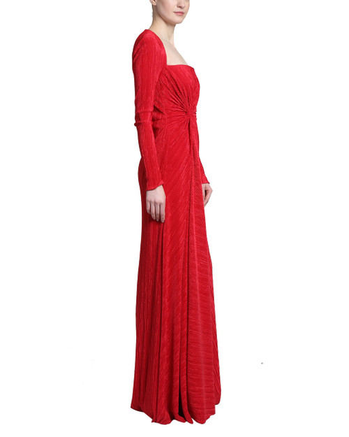 c089ff0887 Red Long Sleeve Pleated Drape Column Dress with a Long Slit