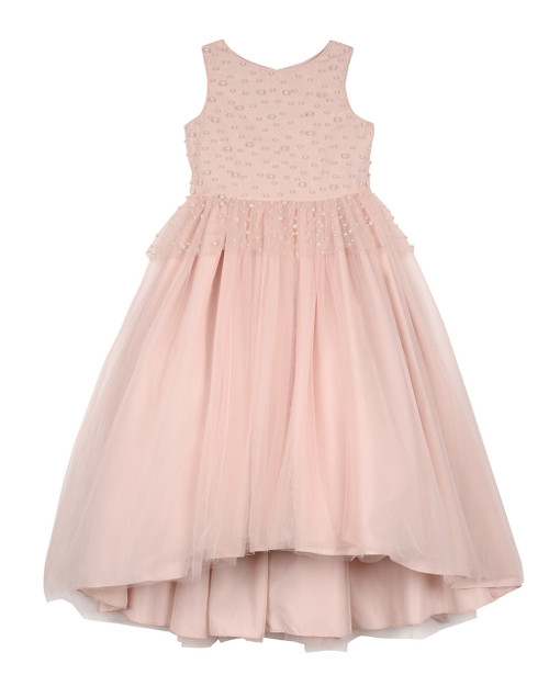 1b0b9c1f91a Blush Peplum Hi Low Maxi Embellished with Pearls and Bow Sash in Back
