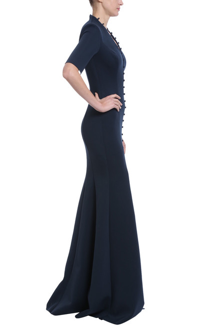 ff431123 Navy neoprene button front floor length gown with princess seams and three  quarter length sleeves