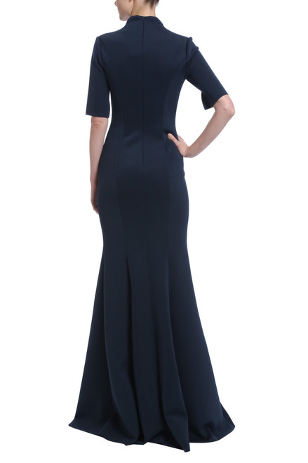 4efc2afd42 Navy neoprene button front floor length gown with princess seams and three  quarter length sleeves Back