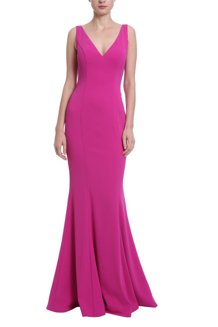 97bf852e22cf Magenta v-neck, mermaid style floor length gown with buttons going down the  back
