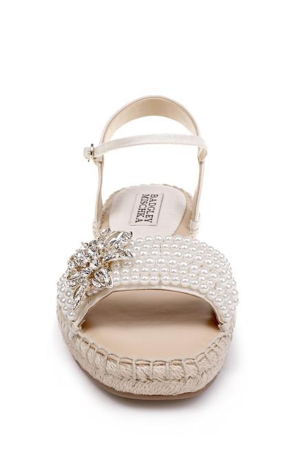 02d2f6ca79 Ivory Leandra Embellished Toe Strap Espadrille Evening Sandal Alt Front