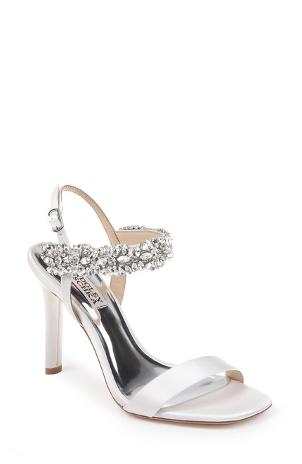 Soft White Lilly Crystal Embellished Evening Shoe Front