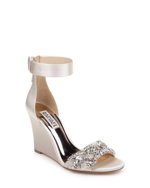 7dd4e9bdf369 Ivory Lauren Ankle Strap with Crystal Embellished Toe Strap Wedge