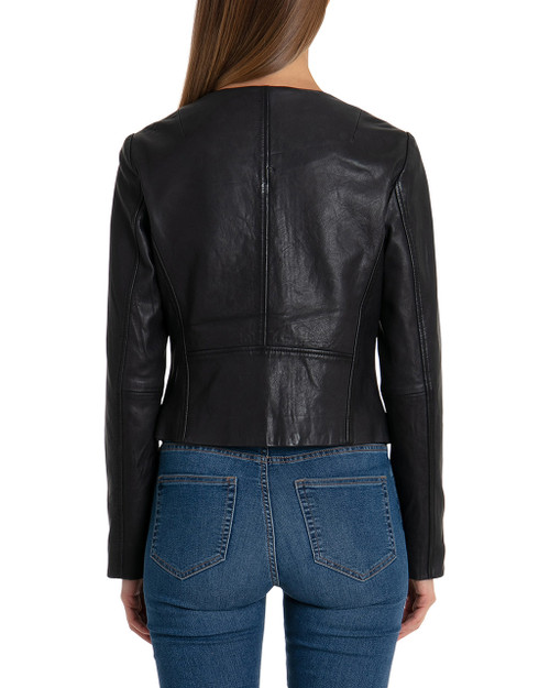d2d0a4cc5 Collarless Zip Front Lamb Leather Jacket
