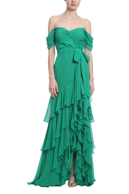 bec59cfea27 Off Shoulder Tiered Ruffle in Vine Green