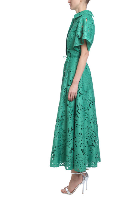 d15ba586bfc Palm Leaf Lace Dress in Vine Green