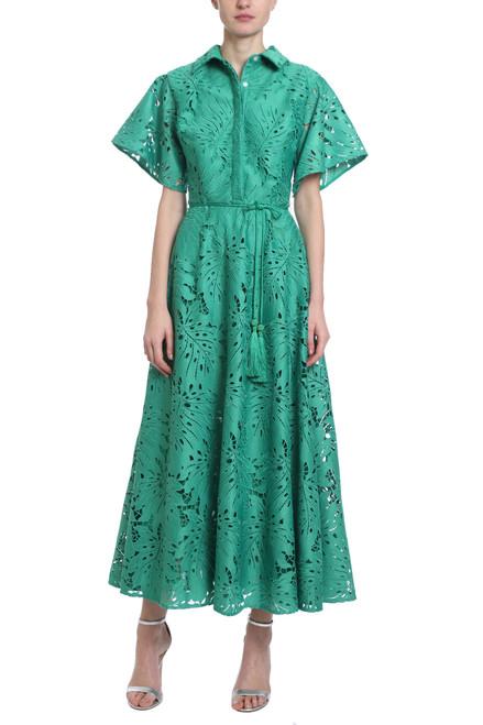 cc20ab4de1 Palm Leaf Lace Dress in Vine Green