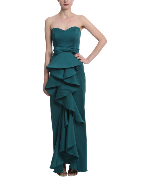 a8352467fa1 Emerald Strapless Mikado Ruffle Evening Gown