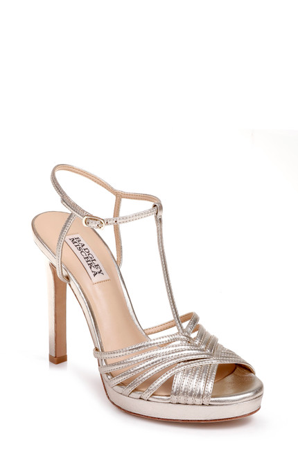 683d71454284f Platino Angelica Strappy Platform Evening Shoe Front