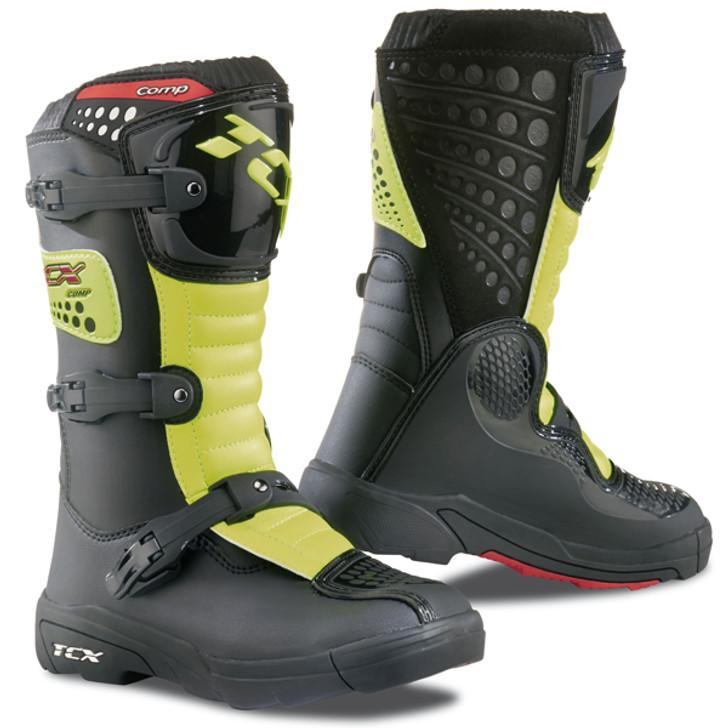 TCX Comp Kid S Childrens Motocross Boots - Black / Yellow