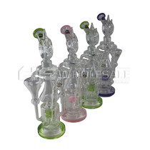 "On Point Glass - 15"" Double Chamber Perc Recycler Donut Spike Water Pipe - with 14M Bowl & 4mm Banger (MSRP $120.00)"