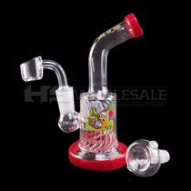 "6"" Decal Work Bent Neck Diamond Tube Water Pipe - with 14M Bowl & 4mm Banger (MSRP $50.00)"