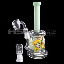 """8"""" Double Dome Decal Water Pipe - with 14F Oil Dome & 4mm Banger (MSRP $60.00)"""