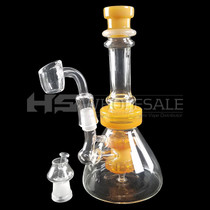 """8"""" Color Tube Oil Rig - with 14F Oil Dome & 4mm Banger (MSRP $50.00)"""