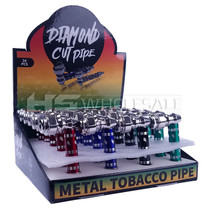 Small Diamond Cut Metal Pipe Assorted Color - Display of 24 (MSRP $5.00)