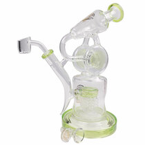 "On Point Glass  - 10"" Double Disk Recycler - with 14M Bowl & 4mm Banger (MSRP $120.00)"