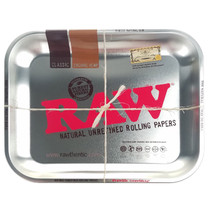 "RAW - Rolling Tray Metal Silver 13 1/2"" x 11""- Large (MSRP $17.00)"