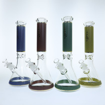 "Chill Glass - 15"" 7mm Net Design Beaker Water Pipe - with 14M Bowl & 4mm Banger (MSRP $90.00)"