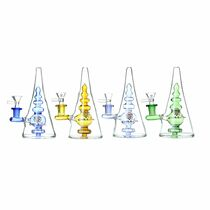 "Chill Glass - 8"" Pyramid Water Pipe - with 14M Bowl & 4mm Banger (MSRP $80.00)"