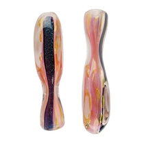 "3"" Gold Fumed Dicro & Gold Dot Square Body Chillum Hand Pipe - 2 Pack (MSRP $20.00)"
