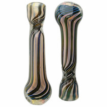 "3.5"" Gold Fumed Dicro & Strip Work Chillum Hand Pipe - 2 Pack (MSRP $25.00)"