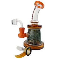 Cheech Glass - Geometric Banger Hanger Water Pipe  with 14M Bowl & 4mm Banger (MSRP $140.00)