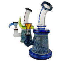 "Cheech Glass - 8"" Engraved Banger Hanger Water Pipe with 14M Bowl & 4mm Banger (MSRP $140.00)"