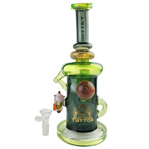 """Tattoo Glass - 10.5"""" Clownfish Recylcer Rig Water Pipe - with 14M Bowl & 4mm Banger (MSRP $175.00)"""