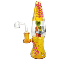 "On Point Glass - 8"" Lava Lamp Hand Painted Hearts Rig Water Pipe - with 4mm 14M Banger (MSRP $85.00)"