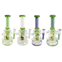 "On Point Glass -  9"" Multi Marble Slyme Work Recycler Perc Water Pipe - with 4mm 14M Banger (MSRP $120.00)"