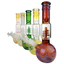 "11.2"" Silver Fumed Helix Perc Round Base Beaker Water Pipe - with 14M Bowl & 4mm Banger (MSRP $80.00)"