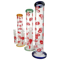 "14"" Lips Decal Double Disc Inline Water Pipe - with 18M Bowl & 4mm Banger (MSRP $60.00)"