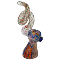 "7"" Twisted Long Mouth Frit Work Bubbler Hand Pipe (MSR P$45.00)"