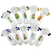 "3"" Assorted Design Decal Work Clear Spoon Hand Pipe - 10 Pack (MSRP $30.00ea)"