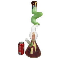 "ZONG - 21"" 2 Kink Zong Fat Artistic Gold Fumed Beaker + Perc Water Pipe - with 14M Bowl (MSRP $615.00)"