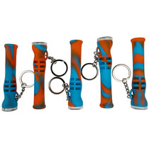 """3.5"""" Silicone Chillum Key Chain With Glass Bowl - Assorted Colors - 5 Pack (MSRP $20.00ea)"""