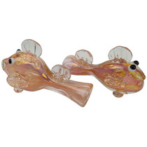 """3.5"""" Gold Work Fish Chillum Hand Pipe - 2 Pack (MSRP $30.00ea)"""