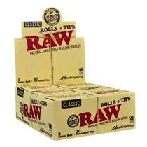 RAW® - Masterpiece Rolls K/S (3m) with Pre-Rolled Tips (30ct) - Display of 12 (MSRP $6.00)