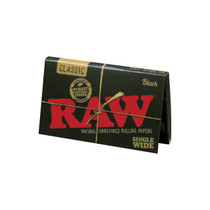 RAW® - Black Classic Rolling Papers Single Wide (Double Feed) 100ct - Display of 25 (MSRP $2.00ea)