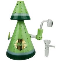 "On Point Glass - 10"" Double Peak Watermelon Banger Hanger Water Pipe - with 14M Bowl & 4mm Banger (MSRP $75.00)"