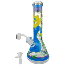 "13"" 7mm Hand Painted Art Work Beaker Water Pipe - with 14M Bowl & 4mm Banger (MSRP $80.00)"