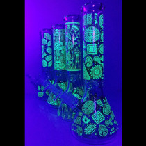 "12"" 7mm Glow In The Dark Decal Work Beaker Water Pipe - with 14M Bowl & 4mm Banger (MSRP $65.00)"