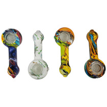 "4.25"" Silicone Water Transfer Print Bubble Mouth Spoon Hand Pipe - Single Assorted (MSRP $25.00)"